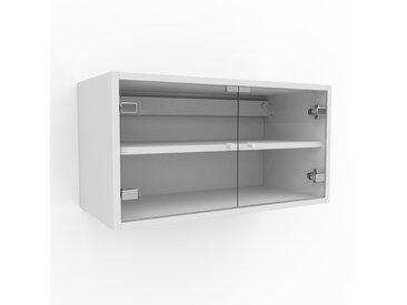 Hängeschrank Kristallglas klar - Moderner Wandschrank: Türen in Kristallglas klar - 77 x 41 x 35 cm, konfigurierbar