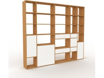 Regalsystem Eiche - Regalsystem: Schubladen in Weiß & Türen in Weiß - Hochwertige Materialien - 267 x 233 x 35 cm, konfigurierbar