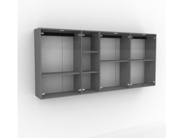 Hängeschrank Kristallglas klar - Moderner Wandschrank: Türen in Kristallglas klar - 265 x 118 x 35 cm, konfigurierbar