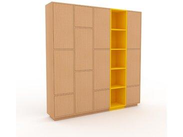 Wohnwand Buche - Individuelle Designer-Regalwand: Türen in Buche - Hochwertige Materialien - 195 x 200 x 35 cm, Konfigurator
