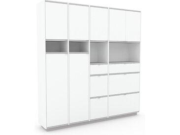 Aktenschrank Weiß - Büroschrank: Schubladen in Weiß & Türen in Weiß - Hochwertige Materialien - 193 x 200 x 35 cm, Modular