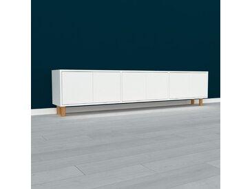 Lowboard Weiß - Designer-TV-Board: Türen in Weiß - Hochwertige Materialien - 226 x 53 x 35 cm, Komplett anpassbar