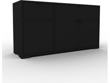 Sideboard Schwarz - Sideboard: Schubladen in Schwarz & Türen in Schwarz - Hochwertige Materialien - 116 x 62 x 35 cm, konfigurierbar
