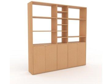 Wohnwand Buche - Individuelle Designer-Regalwand: Türen in Buche - Hochwertige Materialien - 190 x 195 x 35 cm, Konfigurator