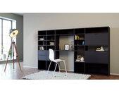 Wohnwand Schwarz - Individuelle Designer-Regalwand: Schubladen in Schwarz & Türen in Schwarz - Hochwertige Materialien - 267 x 157 x 35 cm, Konfigurator