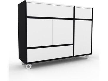 Rollcontainer Weiß - Rollcontainer: Schubladen in Weiß & Türen in Weiß - 116 x 87 x 35 cm, konfigurierbar