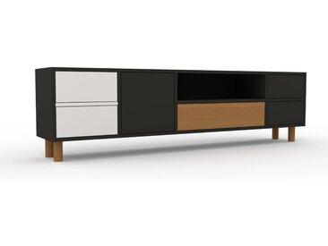 Lowboard Graphitgrau - TV-Board: Schubladen in Weiß & Türen in Graphitgrau - Hochwertige Materialien - 193 x 53 x 35 cm, Komplett anpassbar
