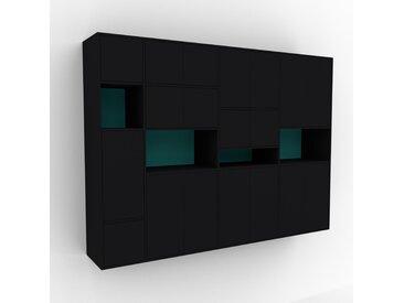 Hängeschrank Schwarz - Moderner Wandschrank: Türen in Schwarz - 265 x 195 x 47 cm, konfigurierbar