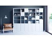 Regalsystem Weiß - Flexibles Regalsystem: Türen in Weiß - Hochwertige Materialien - 306 x 233 x 35 cm, Komplett anpassbar