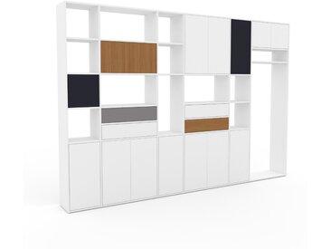 Wohnwand Weiß - Individuelle Designer-Regalwand: Schubladen in Weiß & Türen in Weiß - Hochwertige Materialien - 342 x 233 x 35 cm, Konfigurator