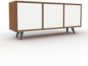 Sideboard Nussbaum - Designer-Sideboard: Türen in Weiß - Hochwertige Materialien - 118 x 53 x 35 cm, Individuell konfigurierbar