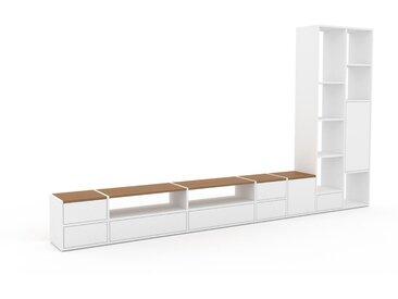 TV-Schrank Weiß - Fernsehschrank: Schubladen in Weiß & Türen in Weiß - 344 x 195 x 35 cm, konfigurierbar