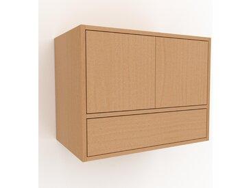 Hängeschrank Buche - Wandschrank: Schubladen in Buche & Türen in Buche - 77 x 61 x 47 cm, konfigurierbar