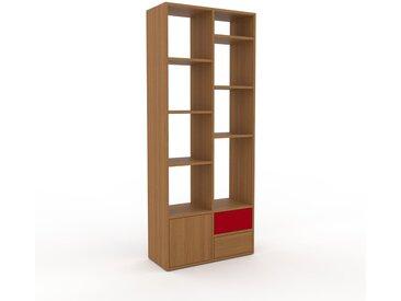 Holzregal Eiche - Modernes Regal aus Holz: Schubladen in Eiche & Türen in Eiche - 79 x 195 x 35 cm, Personalisierbar