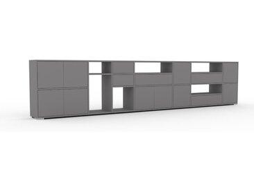 Wohnwand Grau - Individuelle Designer-Regalwand: Schubladen in Grau & Türen in Grau - Hochwertige Materialien - 380 x 81 x 35 cm, Konfigurator