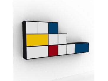 Hängeschrank Weiß - Wandschrank: Schubladen in Weiß & Türen in Weiß - 267 x 118 x 35 cm, konfigurierbar