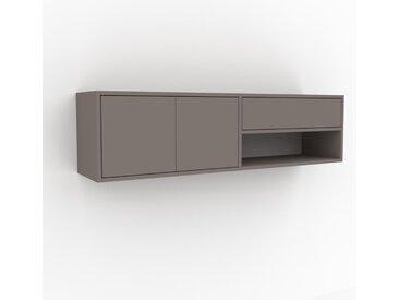 Hängeschrank Grau - Wandschrank: Schubladen in Grau & Türen in Grau - 152 x 41 x 35 cm, konfigurierbar