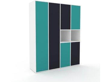 Schrank Weiß - Moderner Schrank: Türen in Seegrün - Hochwertige Materialien - 156 x 195 x 47 cm, Selbst zusammenstellen