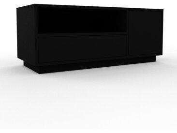 Lowboard Schwarz - TV-Board: Schubladen in Schwarz & Türen in Schwarz - Hochwertige Materialien - 116 x 47 x 47 cm, Komplett anpassbar