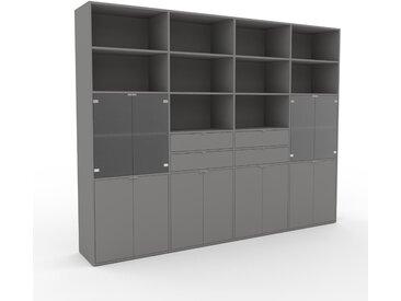 Wohnwand Grau - Individuelle Designer-Regalwand: Schubladen in Grau & Türen in Grau - Hochwertige Materialien - 301 x 233 x 47 cm, Konfigurator