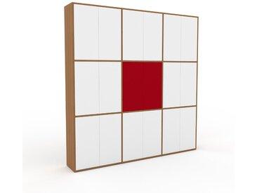 Schrankwand Eiche - Moderne Wohnwand: Türen in Weiß - Hochwertige Materialien - 226 x 233 x 35 cm, Konfigurator