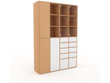 Vitrine Buche - Moderne Glasvitrine: Schubladen in Weiß & Türen in Buche - Hochwertige Materialien - 156 x 233 x 47 cm, konfigurierbar