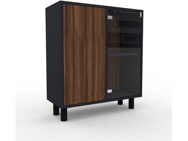 Vitrine Nussbaum - Moderne Glasvitrine: Türen in Nussbaum - Hochwertige Materialien - 79 x 91 x 35 cm, Selbst zusammenstellen