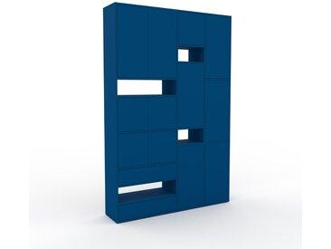 Wohnwand Blau - Individuelle Designer-Regalwand: Schubladen in Blau & Türen in Blau - Hochwertige Materialien - 154 x 233 x 35 cm, Konfigurator