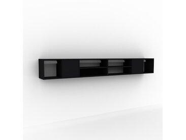 Hängeschrank Schwarz - Moderner Wandschrank: Türen in Schwarz - 306 x 41 x 35 cm, konfigurierbar