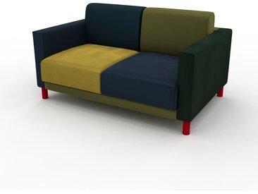 Sofa 2-Sitzer Samt Nachtblau/Rapsgelb Samt - Elegantes, gemütliches 2-Sitzer Sofa: Hochwertige Qualität, einzigartiges Design - 144 x 75 x 98 cm, konfigurierbar