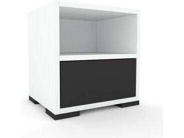 Nachtschrank Weiß - Eleganter Nachtschrank: Schubladen in Graphitgrau - Hochwertige Materialien - 41 x 43 x 35 cm, konfigurierbar