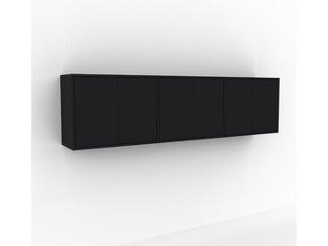 Hängeschrank Schwarz - Moderner Wandschrank: Türen in Schwarz - 226 x 61 x 35 cm, konfigurierbar