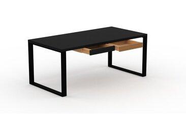 Schreibtisch Massivholz Schwarz - Moderner Massivholz-Schreibtisch: mit 2 Schublade/n - Hochwertige Materialien - 180 x 75 x 90 cm, konfigurierbar