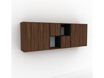 Hängeschrank Nussbaum - Moderner Wandschrank: Türen in Nussbaum - 229 x 80 x 35 cm, konfigurierbar