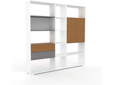 Aktenregal Eiche - Büroregal: Schubladen in Grau & Türen in Eiche - Hochwertige Materialien - 190 x 196 x 35 cm, konfigurierbar