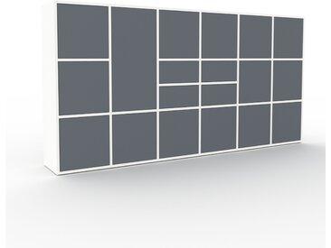 Aktenschrank Weiß - Büroschrank: Schubladen in Anthrazit & Türen in Anthrazit - Hochwertige Materialien - 233 x 118 x 35 cm, Modular