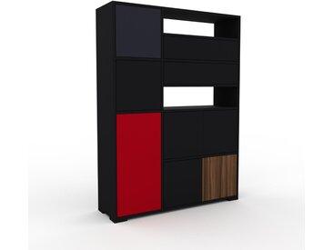 Aktenschrank Schwarz - Büroschrank: Schubladen in Schwarz & Türen in Schwarz - Hochwertige Materialien - 116 x 158 x 35 cm, Modular