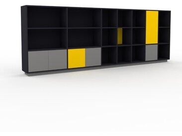 Bücherregal Anthrazit - Modernes Regal für Bücher: Türen in Grau - 344 x 124 x 35 cm, Individuell konfigurierbar