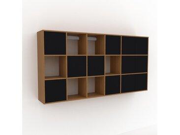Hängeschrank Schwarz - Moderner Wandschrank: Türen in Schwarz - 231 x 118 x 35 cm, konfigurierbar