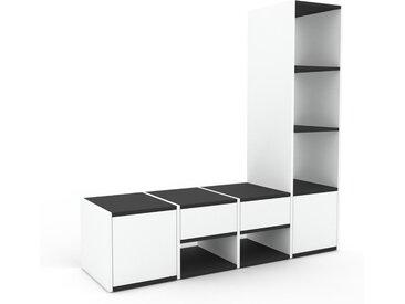 Regalsystem Weiß - Regalsystem: Schubladen in Weiß & Türen in Weiß - Hochwertige Materialien - 156 x 157 x 47 cm, konfigurierbar