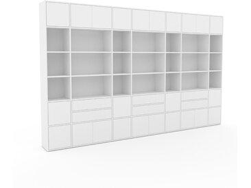 Schrankwand Weiß - Moderne Wohnwand: Schubladen in Weiß & Türen in Weiß - Hochwertige Materialien - 380 x 233 x 35 cm, Konfigurator