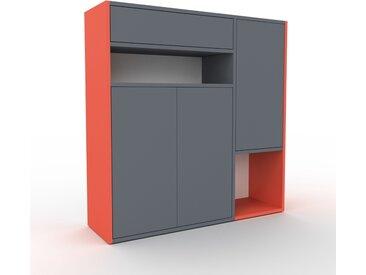 Wohnwand Rot - Individuelle Designer-Regalwand: Schubladen in Anthrazit & Türen in Anthrazit - Hochwertige Materialien - 116 x 118 x 35 cm, Konfigurator