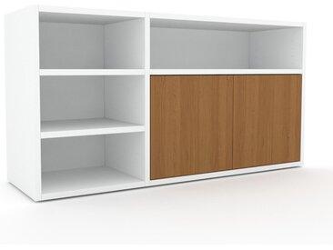 Lowboard Weiß - Designer-TV-Board: Türen in Eiche - Hochwertige Materialien - 116 x 61 x 35 cm, Komplett anpassbar
