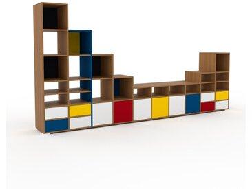 Regalsystem Eiche - Regalsystem: Schubladen in Weiß & Türen in Weiß - Hochwertige Materialien - 387 x 196 x 47 cm, konfigurierbar