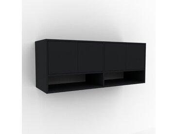 Hängeschrank Schwarz - Moderner Wandschrank: Türen in Schwarz - 152 x 61 x 47 cm, konfigurierbar