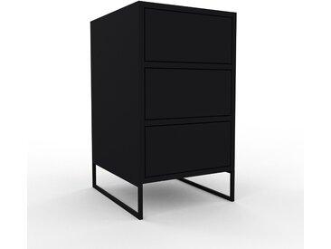 Nachtschrank Schwarz - Eleganter Nachtschrank: Schubladen in Schwarz - Hochwertige Materialien - 41 x 72 x 47 cm, konfigurierbar