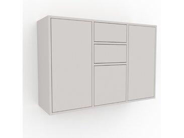 Hängeschrank Weiß - Wandschrank: Schubladen in Weiß & Türen in Weiß - 118 x 80 x 35 cm, konfigurierbar
