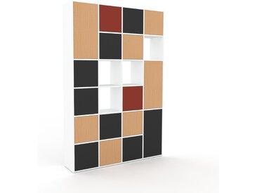Schrankwand Buche - Moderne Wohnwand: Türen in Graphitgrau - Hochwertige Materialien - 156 x 233 x 35 cm, Konfigurator