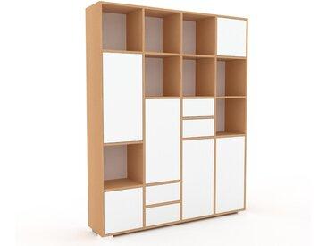 Aktenschrank Weiß - Büroschrank: Schubladen in Weiß & Türen in Weiß - Hochwertige Materialien - 156 x 196 x 35 cm, Modular