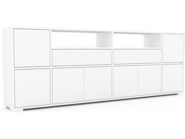 Sideboard Weiß - Sideboard: Schubladen in Weiß & Türen in Weiß - Hochwertige Materialien - 229 x 81 x 35 cm, konfigurierbar